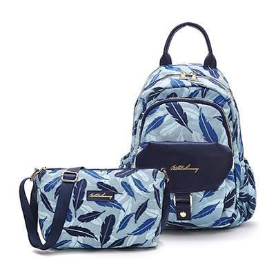 B.S.D.S冰山袋鼠-楓糖瑪芝x輕旅單肩後背兩用包+側背小包2件組-羽毛風