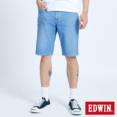 EDWIN JERSEYS 迦績 大尺碼 EJ3 透氣復古牛仔短褲-男-重漂藍