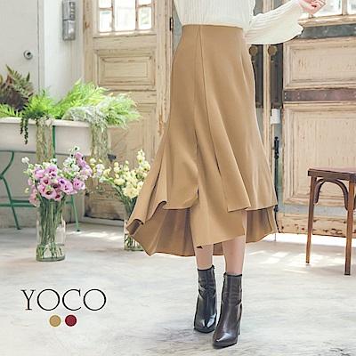 東京著衣-yoco 焦糖美人前短後長不規則多片裙-S.M.L(共二色)