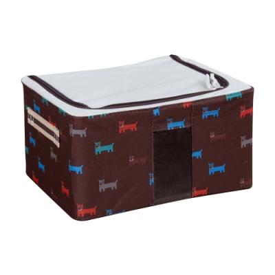 樂嫚妮 11L防潑水單視窗文件桌面收納箱/折疊收納箱-咖-30X24X15cm