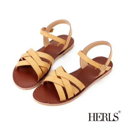HERLS涼鞋-鏤空編織繫帶露趾平底涼鞋-駝色