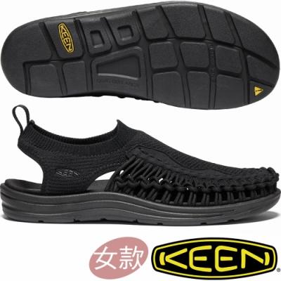 KEEN 1021486黑 Uneek Evo女戶外護趾編織涼鞋/水陸兩用鞋