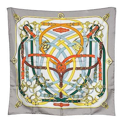 HERMES 經典Cavalcadour系列皮帶圖騰絲質方巾/披巾(灰-90X90cm)