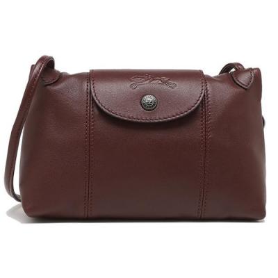 LONGCHAMP Le Pliage Cuir 新款黑扣小羊皮斜背包(咖啡紅)