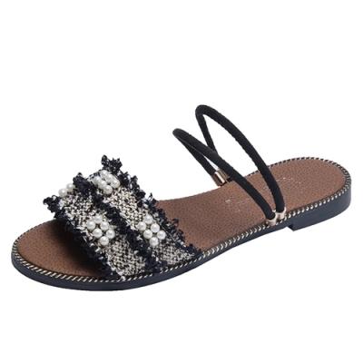 KEITH-WILL時尚鞋館 獨家價時尚元素百花美腿平底涼鞋-黑
