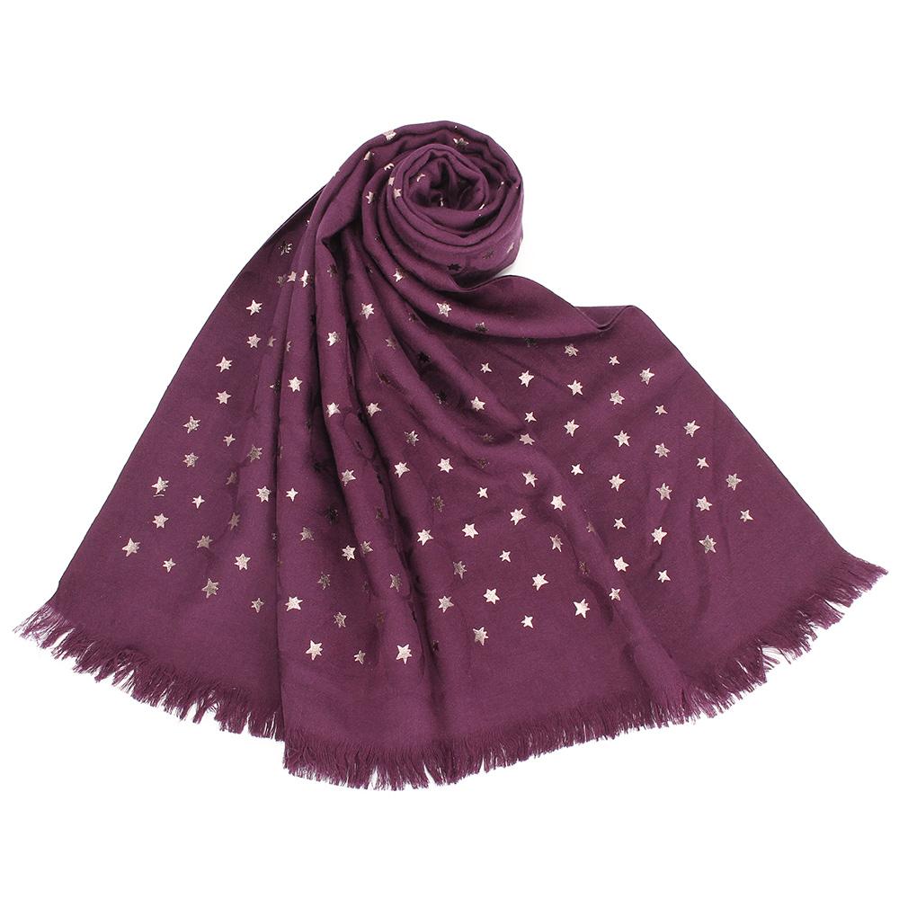 COACH 閃耀星星滿版LOGO薄款羊毛混絲披肩圍巾-莓紫色COACH