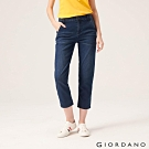 GIORDANO 女裝刷色中腰直筒九分牛仔褲-71 深藍