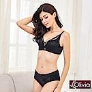 Olivia 無鋼圈美姬蕾絲薄紗內衣+小褲-黑色