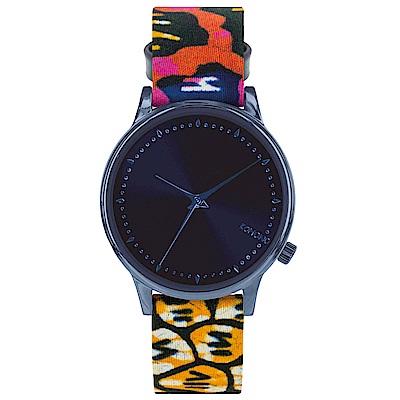 KOMONO Estelle 聯名腕錶-靛藍x非洲印花/36mm