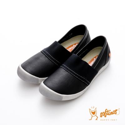 SOFTINOS (女) ANNA BABY 雙料牛皮鬆緊帶圓頭休閒鞋-白底黑