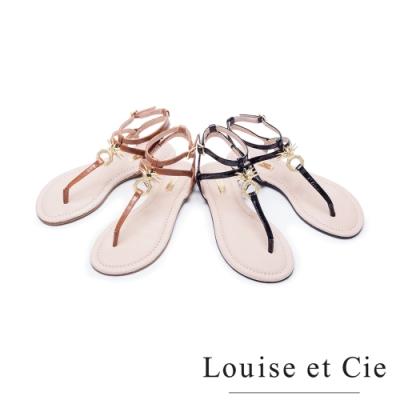 [時時樂限定] Louise et Cie 鳳梨金屬扣平底夾腳涼鞋(兩色任選)