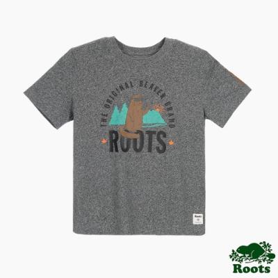 女裝Roots 海貍比耶短袖T恤-灰色