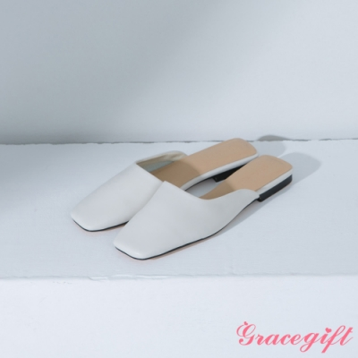 Grace gift-方頭斜口低跟穆勒鞋 米白