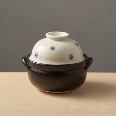 日本TAIKI太樹萬古燒 兩用蓋碗土鍋-水玉點點(1.1L)