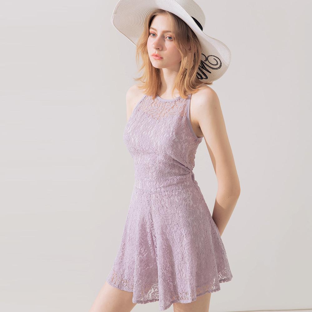 AIR SPACE 性感蕾絲削肩露背連身褲(紫)