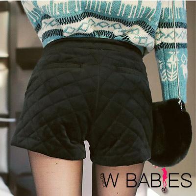 正韓 純色絨面格菱紋保暖短褲 (黑色)-W BABIES