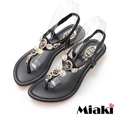 Miaki-涼鞋華麗時尚楔型涼鞋-黑色