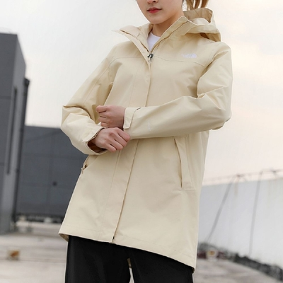 The North Face 女 防水透氣連帽衝鋒衣 米白-NF0A4NEHRB6