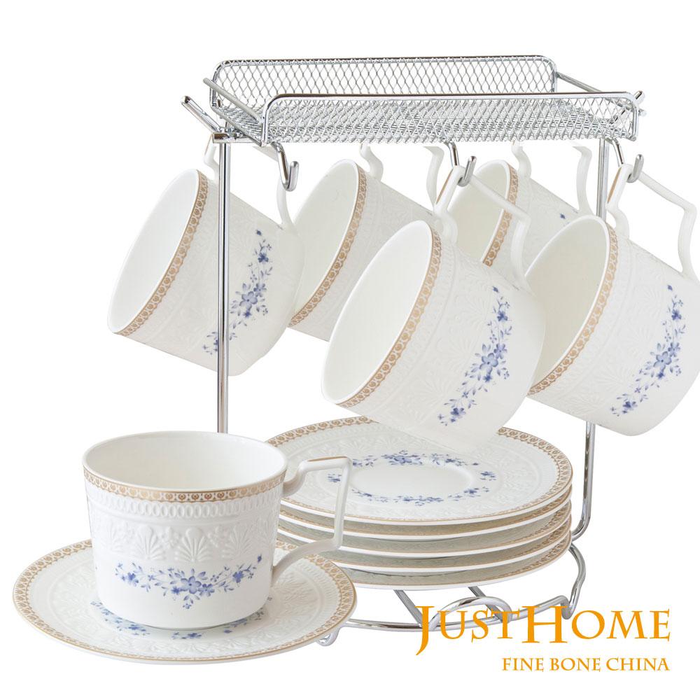 Just Home 韋格納新骨瓷咖啡杯盤組6入 (附收納架,禮盒)
