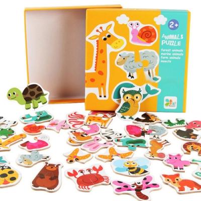 colorland【2入】兒童益智配對拼圖 動物交通水果木製早教益智啟蒙玩具