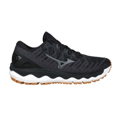 MIZUNO WAVE SKY 4 WAVEKNIT女慢跑鞋-3E-寬楦 美津濃 J1GD208449 麻花灰黑
