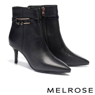 短靴 MELROSE 經典時髦飾釦蛇紋尖頭高跟短靴-黑