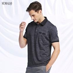 【ST.MALO】XT2銀纖維99.9%緹花領紳士POLO衫-晶鑽黑