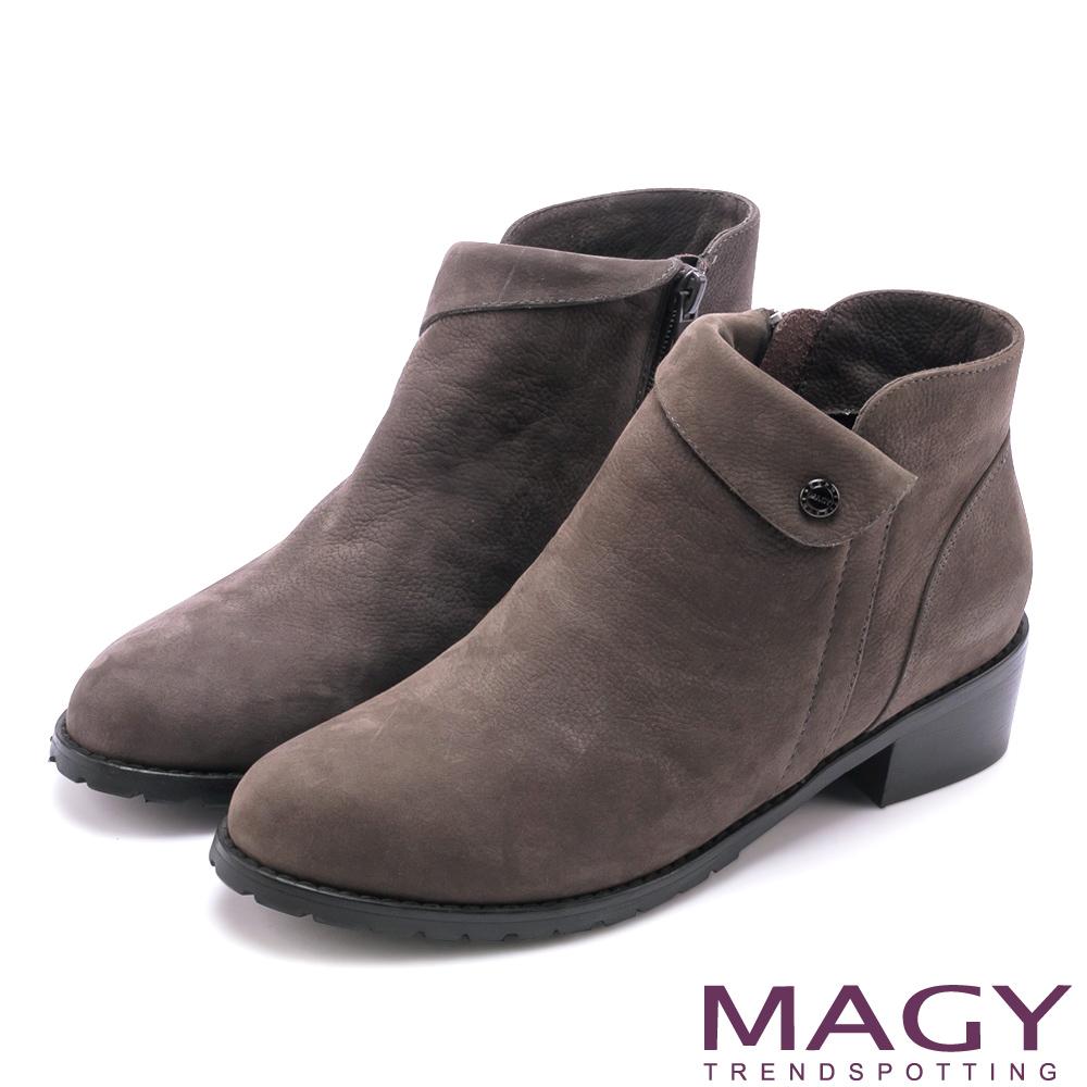 MAGY 復古反折鉚釘真皮 女 短靴 灰色