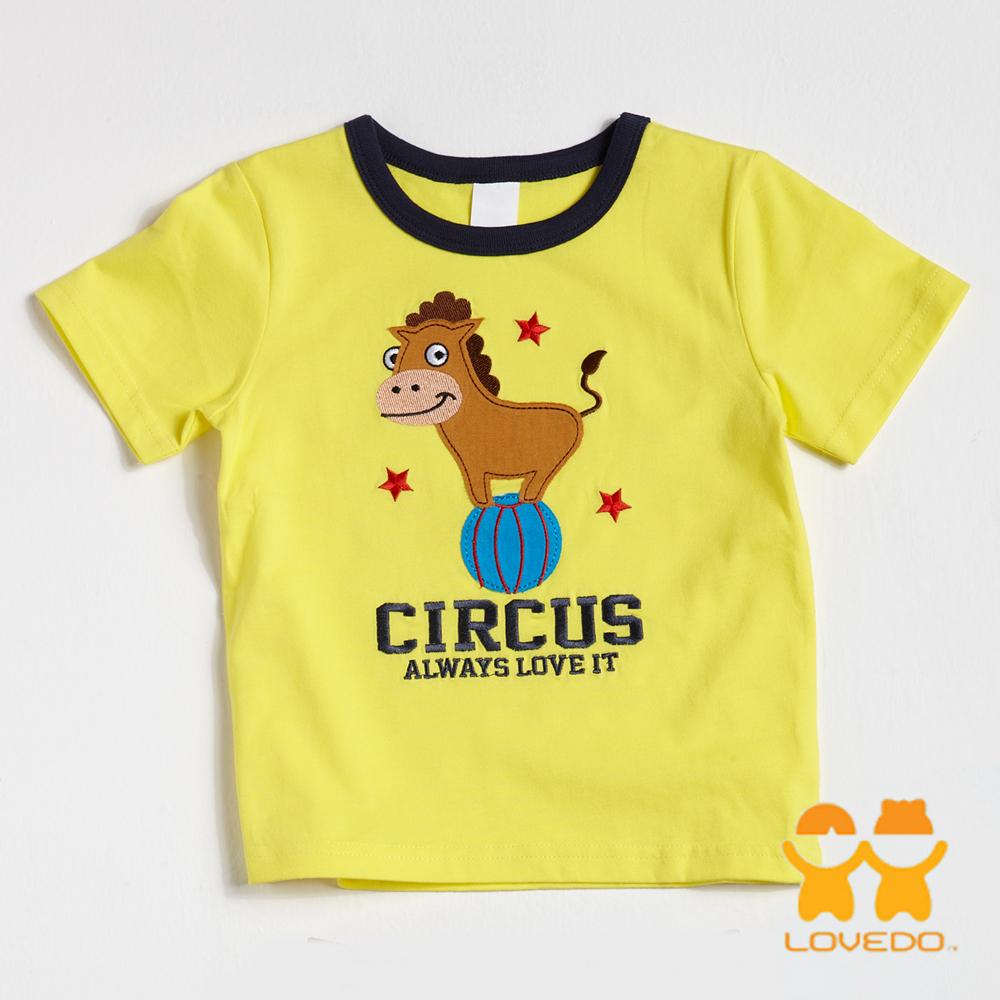 【LOVEDO-艾唯多童裝】踩球小驢子 拼布短袖T恤 (黃)