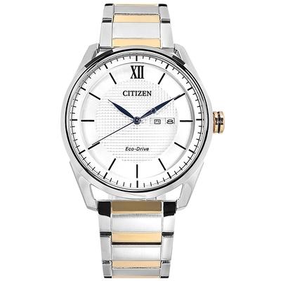 CITIZEN 光動能 格紋時尚 防水 星期日期 不鏽鋼手錶-銀白x鍍玫瑰金/42mm
