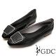 GDC-文青小姐素色基本歐風方釦平底包鞋-黑色 product thumbnail 1