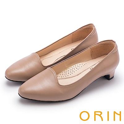 ORIN 簡約舒適柔軟 嚴選羊皮經典素面粗跟鞋-可可