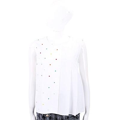 Max Mara-SPORTMAX 多彩刺繡點點抓褶白色無袖上衣