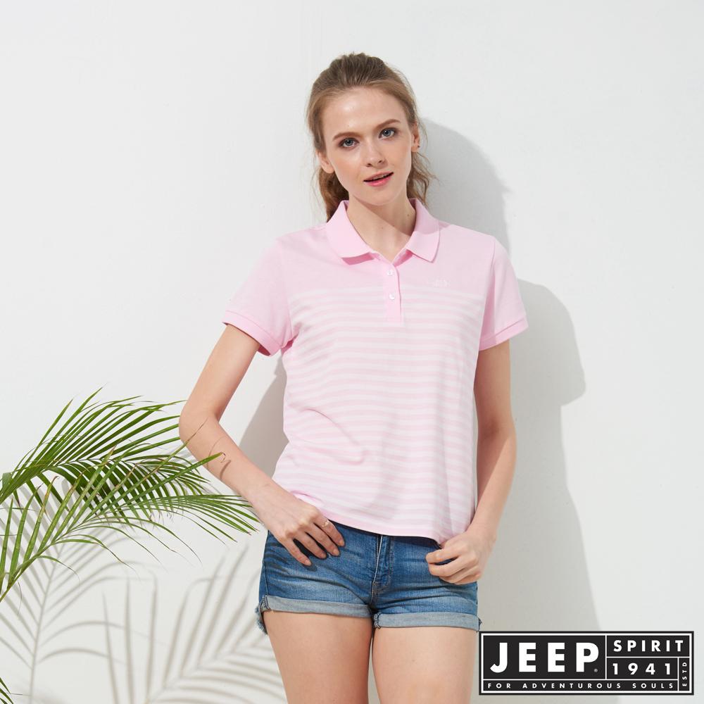 JEEP 女裝 簡約條紋短袖POLO衫-粉色