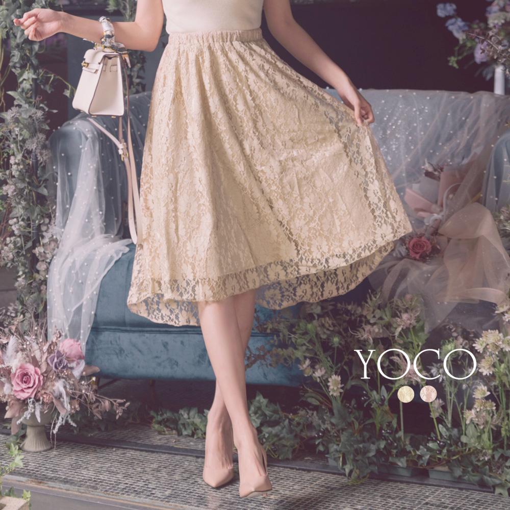 東京著衣-YOCO 浪漫柔美優雅蕾絲前短後長傘襬長裙-S.M.L(共兩色)