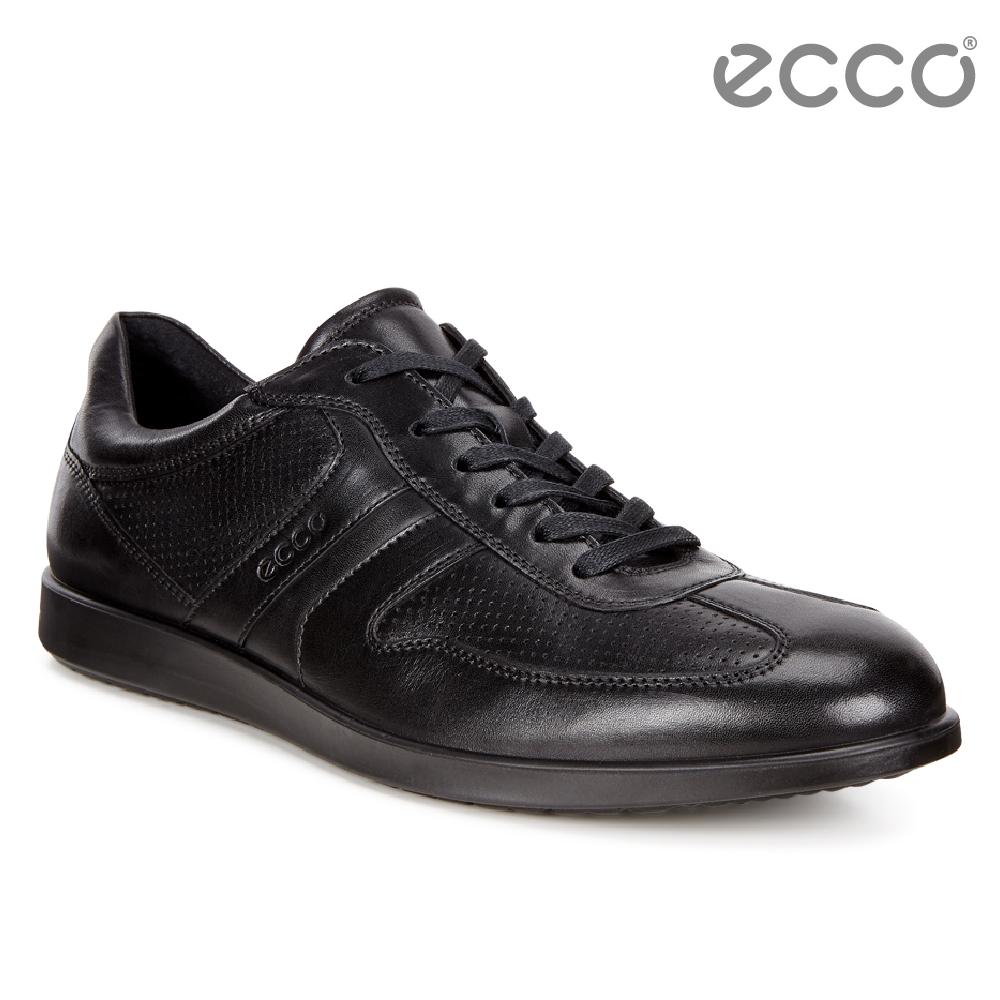 ECCO INDIANAPOLIS經典單色綁帶休閒鞋 男-黑
