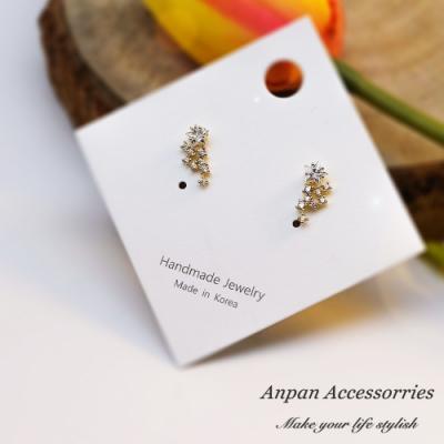 【ANPAN愛扮】韓南大門氣質金閃星雲鑽耳釘式耳環