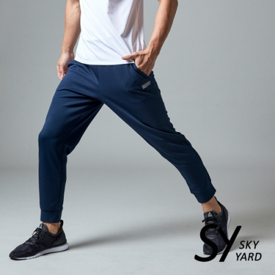 【SKY YARD 天空花園】彈性運動休閒束口褲-藍色