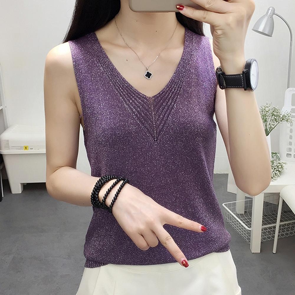 ALLK 歐楷 超彈力冰絲針織上衣 共5色(尺寸F 任選) (紫色)