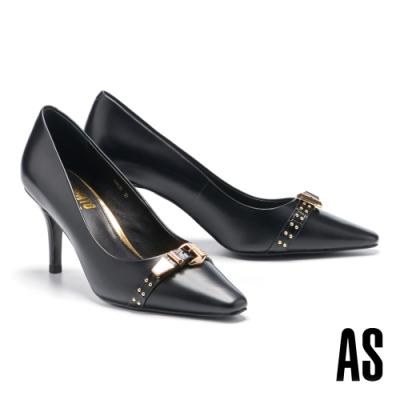 高跟鞋 AS 時髦個性金屬鉚釘帶釦牛皮小方頭高跟鞋-黑