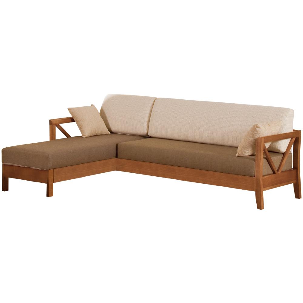 綠活居 尼西亞麻布實木L型沙發椅(左&右二向)-250.5x178x90cm免組