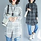 格紋寬鬆長版襯衫M-2XL(共三色)-Keer