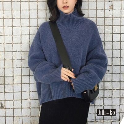 JILLI-KO 韓版混織慵懶風寬鬆針織上衣- 杏/藍/深卡