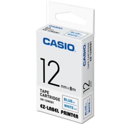 CASIO 標籤機專用色帶-12mm【共有9色】白底藍字-XR-12WEB1