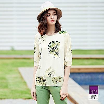 ILEY伊蕾 大葉植物水彩印花上衣(白/水)