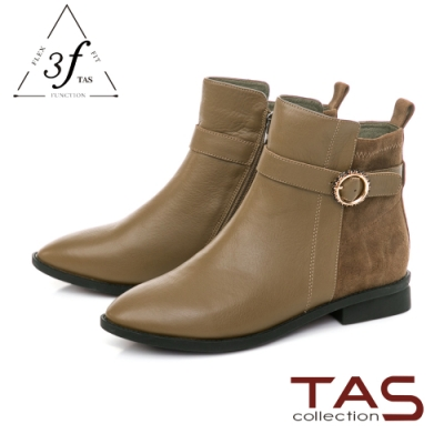 TAS異材質拼接金屬環綁帶短靴-卡其綠
