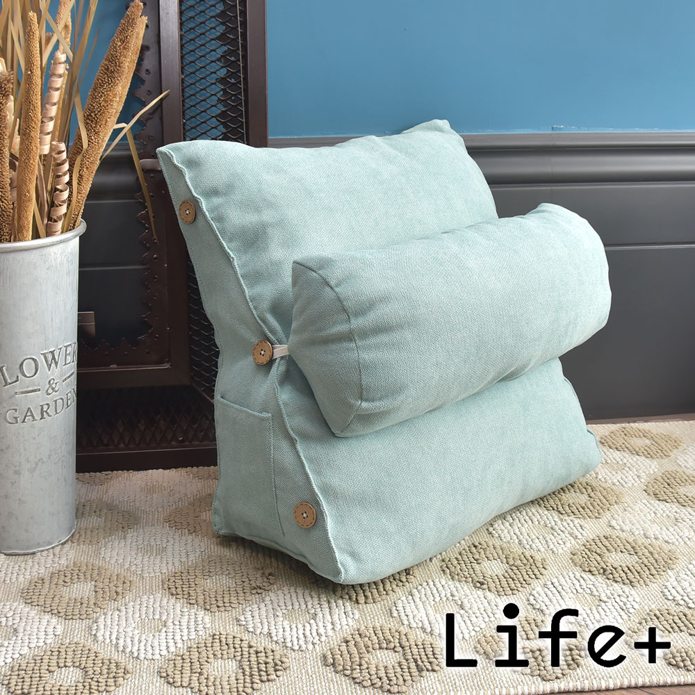 Life Plus 慵懶時光 舒壓萬用棉麻靠枕/抱枕/腰靠枕 (湖綠)
