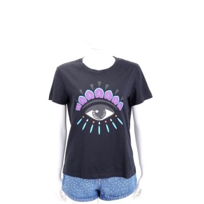KENZO Eye 撞色眼睛印花黑色棉質T恤