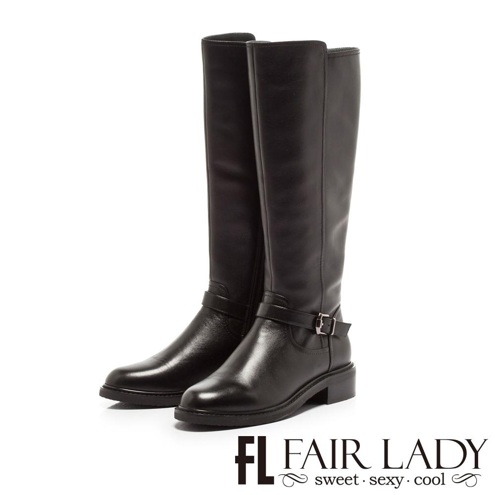 FAIR LADY 騎士風範皮革釦帶低跟長靴 黑