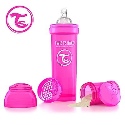 Twistshake 瑞典時尚 彩虹奶瓶/防脹氣奶瓶330ml/奶嘴口徑1mm-甜心粉